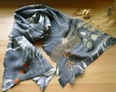 Wool nuno felted scarf, Wool felted wrap, Botanical print scarf, Grey scarf
