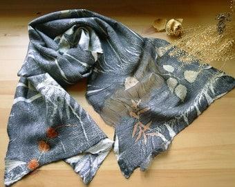 Wool nuno felted scarf, Wool felted wrap, Botanical print scarf, Grey scarf