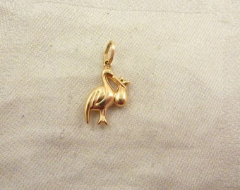 Vintage 14K Gold Italian Hollow Stork and Baby Charm