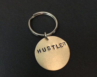 Hustler Keychain - INVENTORY PURGE - 40% Off - Like a Boss, Playboy, Boss Bitch, Gifts for Men, Stamped Keychain, Circle, Mens Keychain