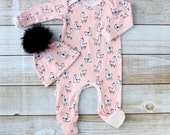 Pink Llama Footie Romper and Hat Set - New Baby Girl Set - Pink Footie Romper - Pink Girl Take Home Outfit