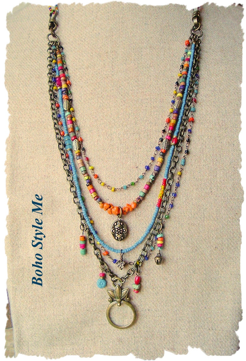 bohemian jewelry colorful layered beaded necklace modern