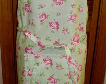 Simply Sheila adult apron shabby cottage green and pink print