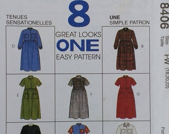 Casual Misses Plus Dress Pattern Mccalls 8406 Misses Size 18 20 22 Country Casual Crafty Casual Dress
