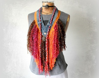 Yarn Fringe Necklace Bohemian Chic Scarf Bright Colors Western Clothing Upcycle Jean Art To Wear Boho Gypsy Scarf Cowgirl Rodeo 'EVANGELINE'