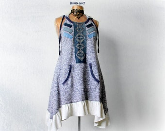 Summer Boho Dress Tribal Clothing Blue Upcycled Hoodie Music Festival Fit Flare Bohemian Dress Women's Eco Fashion Recycle Denim M 'JOCELYN'