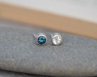 London Blue Topaz Earring Studs, Clear Topaz Earring Studs, November Birthstone Studs, Set In Sterling Silver