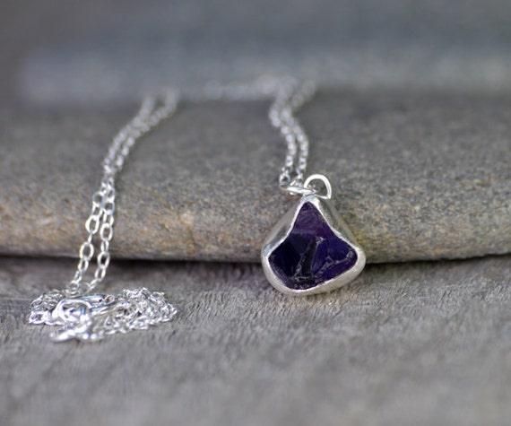 Raw Amethyst Necklace In Indigo, February Birthstone, 2.5ct Uncut Raw Amethyst Necklace, Amethyst Gift