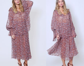 Vintage 70s CHIFFON Dress SCOTT BARRIE Two Piece Dress Floral Butterfly Tunic and Skirt