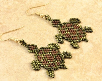 Turtle Glass Seed Bead Earrings in Metallic Green and Brown