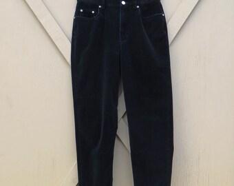 80s vintage Liz Claiborne High Waist Black Velveteen Pants / LizWear Petite Pants