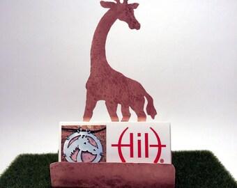 Giraffe Business Card Holder, Hammered Copper Desk Accessories, giraffe lover gifts giraffe items gifts for animal lovers Copper Card Holder