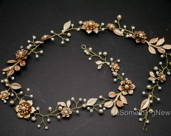 Long Gold Wedding Hair Vine of Wired Pearls and Metal Flowers and Leaves Bridal Headpiece Gold Hair Wrap Hair Jewelry Metal Flower Tiara
