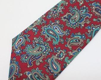 "80's Burgundy Red Paisley Print Tie / Silk / Christian Dior / 3 1/2 "" Wide"