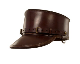 STEAMPUNK LEATHER KEPI hat brown leather Skirmisher design