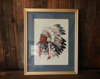 1970s INDIAN Needlepoint Wall Hanging / boho decor / framed art Native American