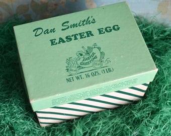 Vintage Dan Smith's Easter Egg Candy Box with Rabbits Green Striped