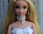 White Lace & Pearl Teardrop Choker Doll Necklace and Earring Wedding Set for 11 1/2 - 12 inch 1/6th Scale Fashion Dolls