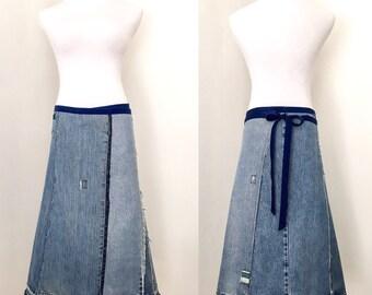Denim Wrap Skirt, denim skirt, wrap skirt, upcycled denim, jean skirt, patches, patchwork, indigo, patched denim, denim redo, unique skirt