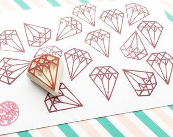 small diamond rubber stamp. gemstone hand carved rubber stamp. wedding birthday scrapbooking. gift wrapping. stamps by talktothesun. no2