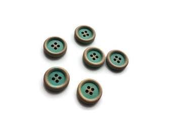 Aqua Button 15mm - set of 6 wood buttons
