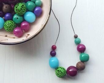 nurples necklace - vintage remixed lucite - cool colors - green aqua purple necklace