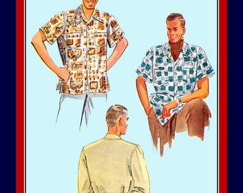 Vintage 1948-Sewing Pattern-Stylish Men's Wing Collar Club Shirt in Two Fabulous Styles-Patch Pockets-Long-Short Sleeves- Size Large-Rare