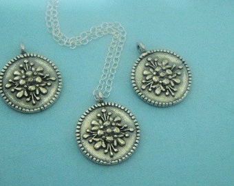 1 Sterling Silver Coin Charm , Stamped Oxidized Floral Pendant, 14x12mm
