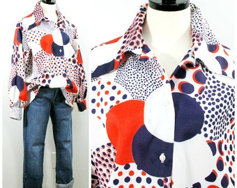 Vintage 70s Blouse, Groovy Polka Dot Print Blouse in Red White Blue, Patriotic Circle Print Button Front Shirt, Large Collar Poufy Sleeves