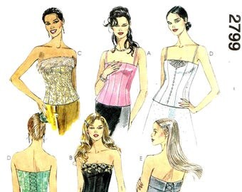 Fitted Bustier Corset Top Back Tie Closure Strapless McCalls 2799 Sewing Pattern Size 8, 10 12 Bust 34 36 38 Uncut Factory Folded