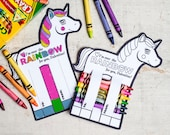 Rainbow Unicorn Valentines Printable DIY Instant Download crayon holder and coloring page activity Non candy valentine idea fun craft
