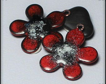 Poppies, Enamel Charms, Flower Charms, Flowers, Handmade, Torch Fired Enamel, Charms, Beads, Glass, Copper, Earring Pair, Red, Black, White