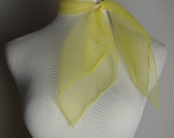 VintageScarf, Sheer Scarf, White and Yellow, Ponytail Scarf, Neck Scarf, Purse Scarf,