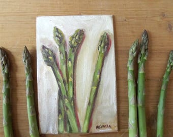 asparagus painting still life vegetables  4 X 6 inch kitchen decor