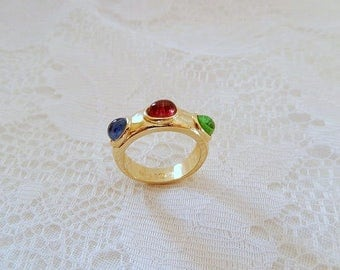 vintage ring, 18KT gold filled, multi color stone ring, vintage jewelry, ladies size 7
