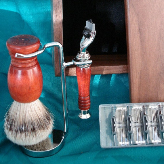 Wet Shaving, Mach 3, Custom Set with Walnut Box, Silvertip Badger Fan Brush, Chrome Stand Holder, Bloodwood, Personalized Engraving