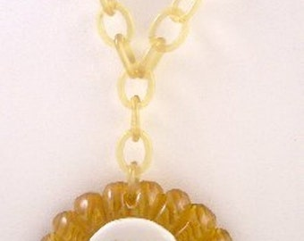Bakelite Porcelain Necklace of Courting Couple with Celluloid Chain 1930s