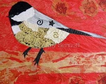 Whimsical, Chickadee, Room Decor, Art Print, Woodland Creature, Whimsical Art,, Collage, Giclee, Chickadee Art