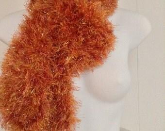 Fabulous Fun Fur Knit Scarf in Gold & Orange Glitter - Plush Soft and Warm  C#6
