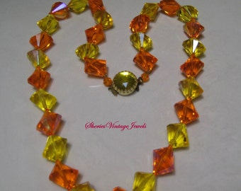 Vintage 1950s Lucite Necklace Geometric Beads Lemon and Orange