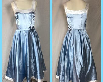 Cinderella Blue Satin, Sleeveless Party Dress with Full Circle Skirt and White Contrast Detail - Size Small