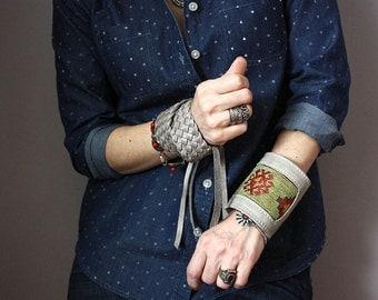 Wrap leather bracelet, Ethnic cuff, Leather Wrap bracelet, braided bracelet, multi strand cuff, boho bracelet, rustic bracelet