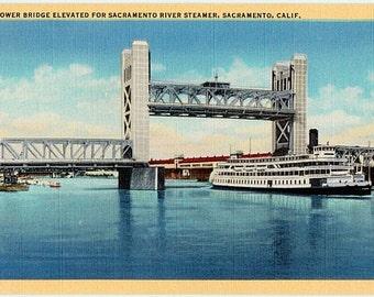 Vintage California Postcard - The Tower Bridge spanning the Sacramento River, Sacramento (Unused)