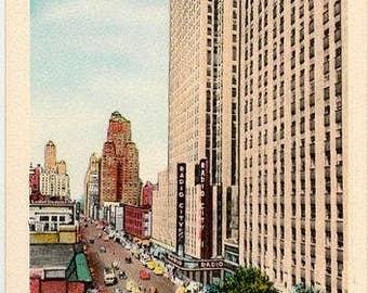 Vintage New York City Postcard - Sixth Avenue and Radio City Music Hall (Unused)