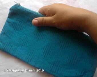 Blue Change Purse, Fabric Pencil Case, Woven Fabric Wallet, Fabric Zipper Pouch, Zippered Pouch, Purse With Zipper, Handmade  Coin Purse
