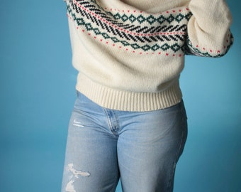 Vintage 80s Sweater // PLUS SIZE Oversized Cream Fair Isle Wool Jumper // Plus Size Sweater (sz L Xl)