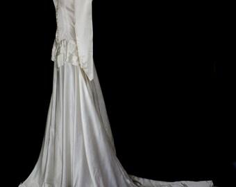 Original vintage early 1940s deco satin wedding dress - Small - FREE SHIPPING WORLDWIDE