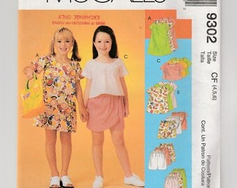McCalls 9302 Girls Dress-Top-Pull On Pants-Elastic Waist Shorts-Skort Skirt Sewing Pattern-4-5-6 Easy Loose Fitting Kids Summer Play Clothes