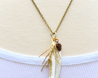 Feather Necklace, Silver Feather, Gold Twig Pendant, Pine Cone Jewelry, Woodland Necklace, Gift for Her, Rustic Wanderlust Pendant, Boho