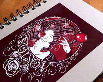 Glossy Post Card - Poison - Blood Rose - Stationary, Art Print, Fairy Tale, Snow White, Sleeping Beauty, Poison Apple, Red, Roses, Princess
